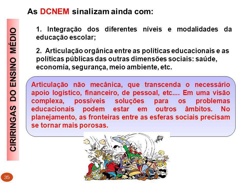 As DCNEM sinalizam ainda com: