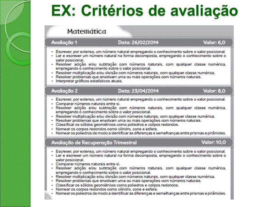 EX: Critérios de avaliação