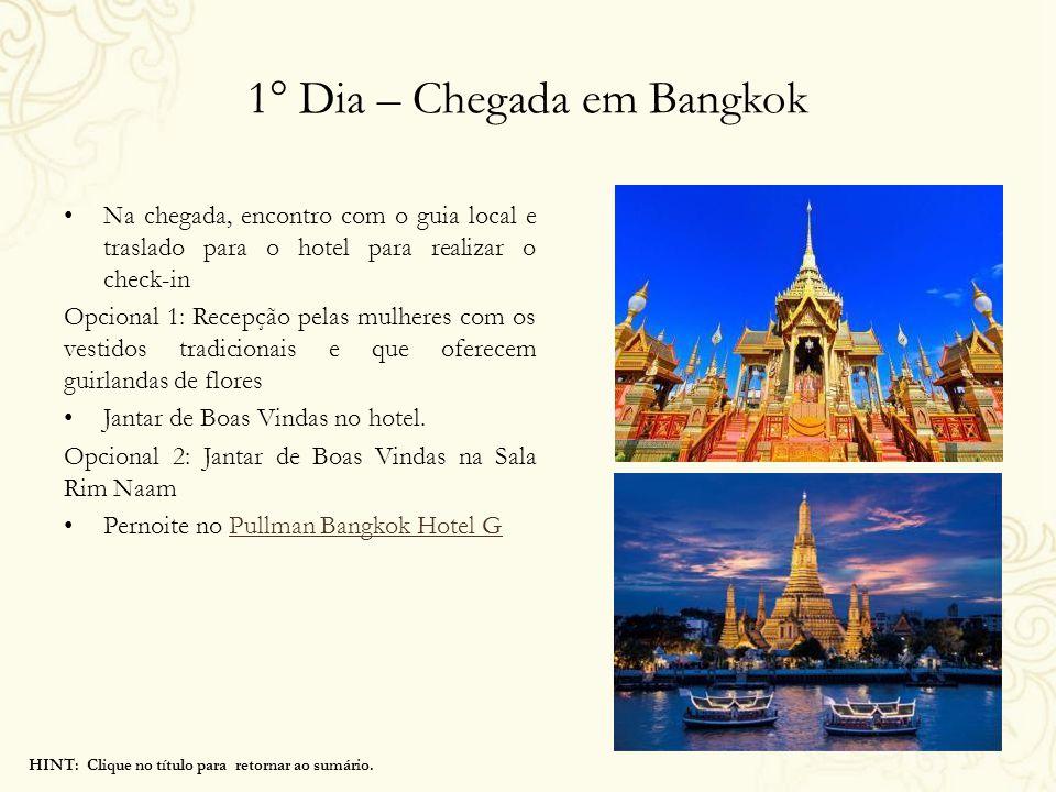 1° Dia – Chegada em Bangkok