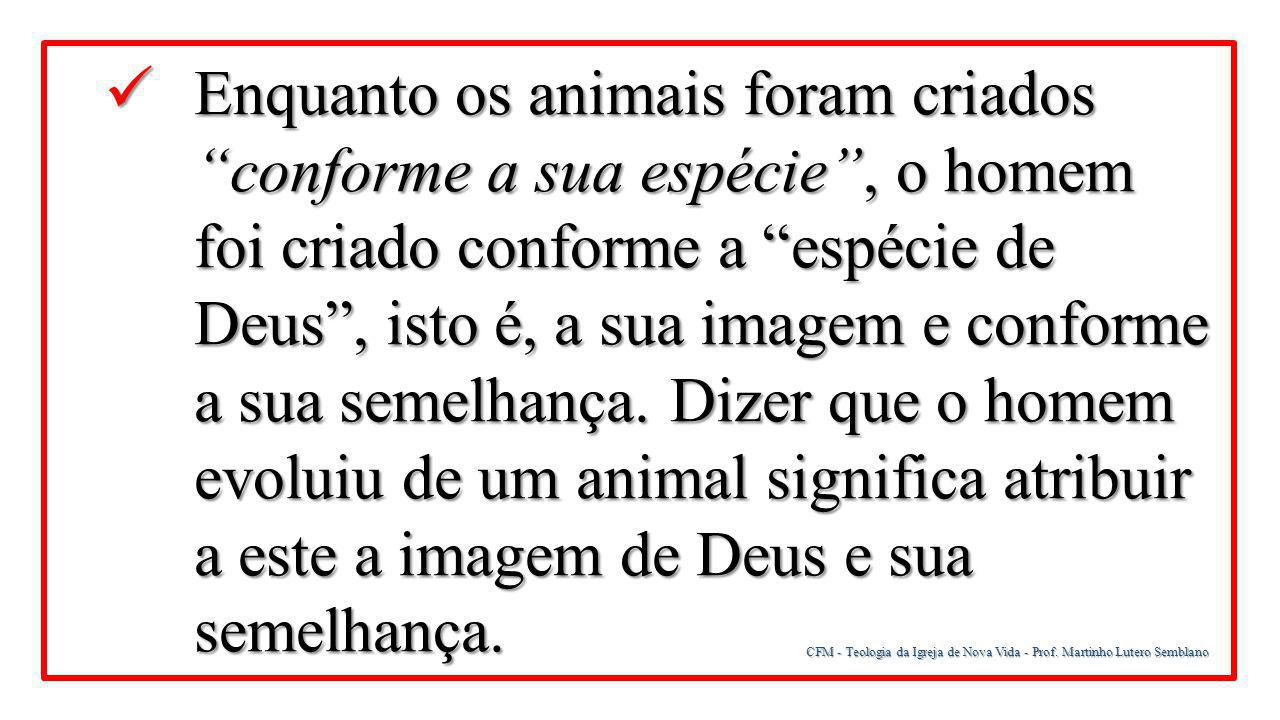 Enquanto os animais foram criados conforme a sua espécie , o homem foi criado conforme a espécie de Deus , isto é, a sua imagem e conforme a sua semelhança. Dizer que o homem evoluiu de um animal significa atribuir a este a imagem de Deus e sua semelhança.