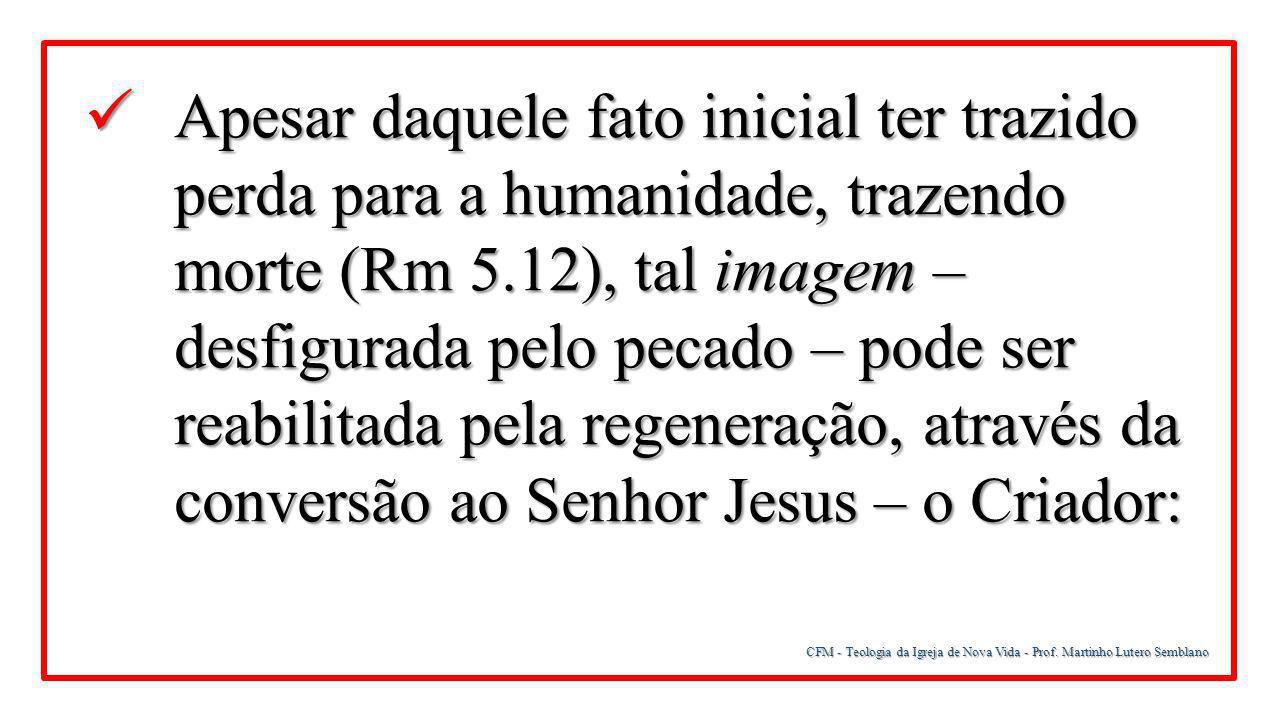 Apesar daquele fato inicial ter trazido perda para a humanidade, trazendo morte (Rm 5.12), tal imagem – desfigurada pelo pecado – pode ser reabilitada pela regeneração, através da conversão ao Senhor Jesus – o Criador: