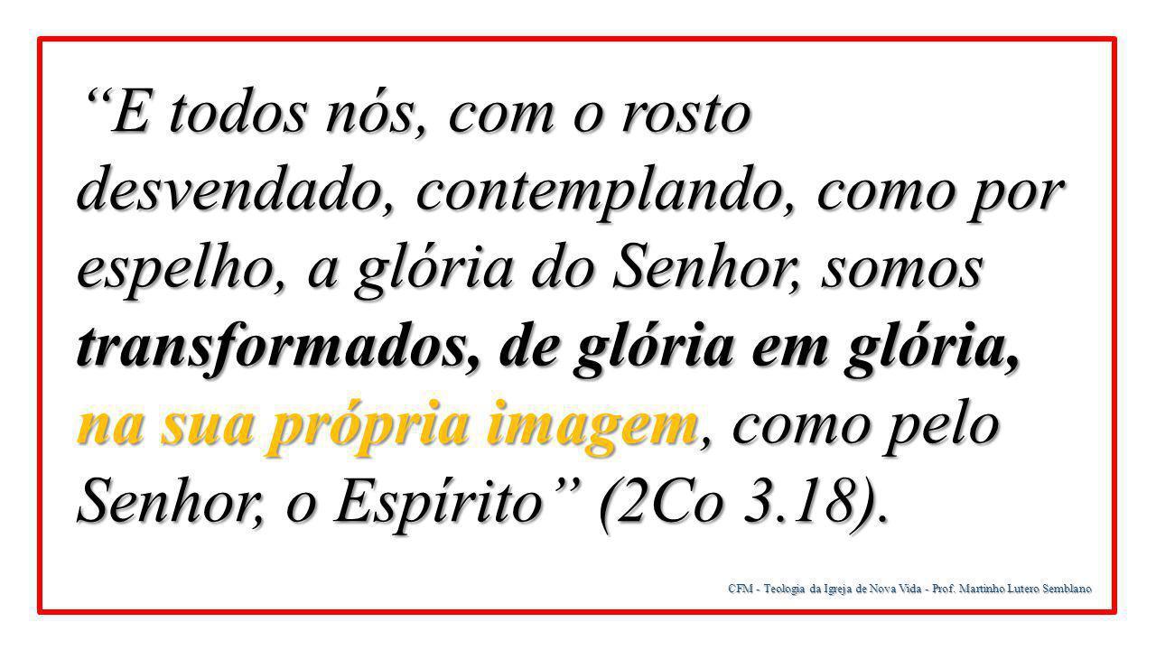 E todos nós, com o rosto desvendado, contemplando, como por espelho, a glória do Senhor, somos transformados, de glória em glória, na sua própria imagem, como pelo Senhor, o Espírito (2Co 3.18).