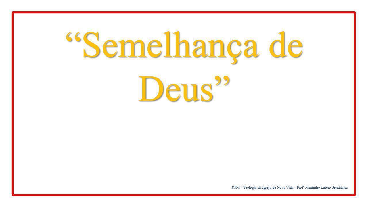 Semelhança de Deus CFM - Teologia da Igreja de Nova Vida - Prof. Martinho Lutero Semblano