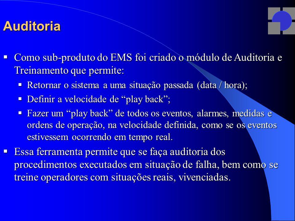Auditoria Como sub-produto do EMS foi criado o módulo de Auditoria e Treinamento que permite: