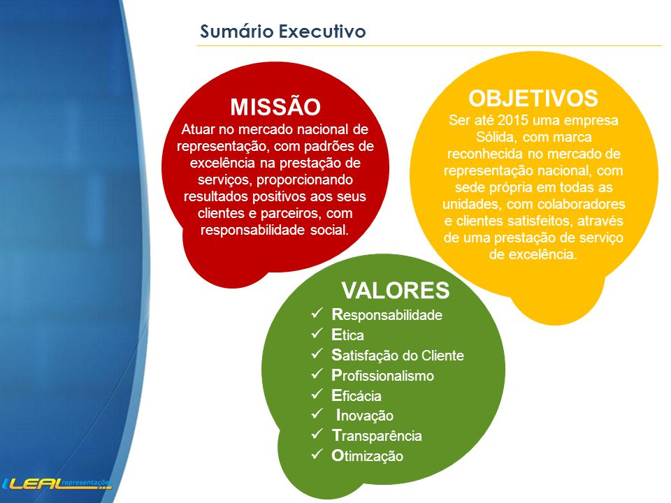 OBJETIVOS MISSÃO VALORES