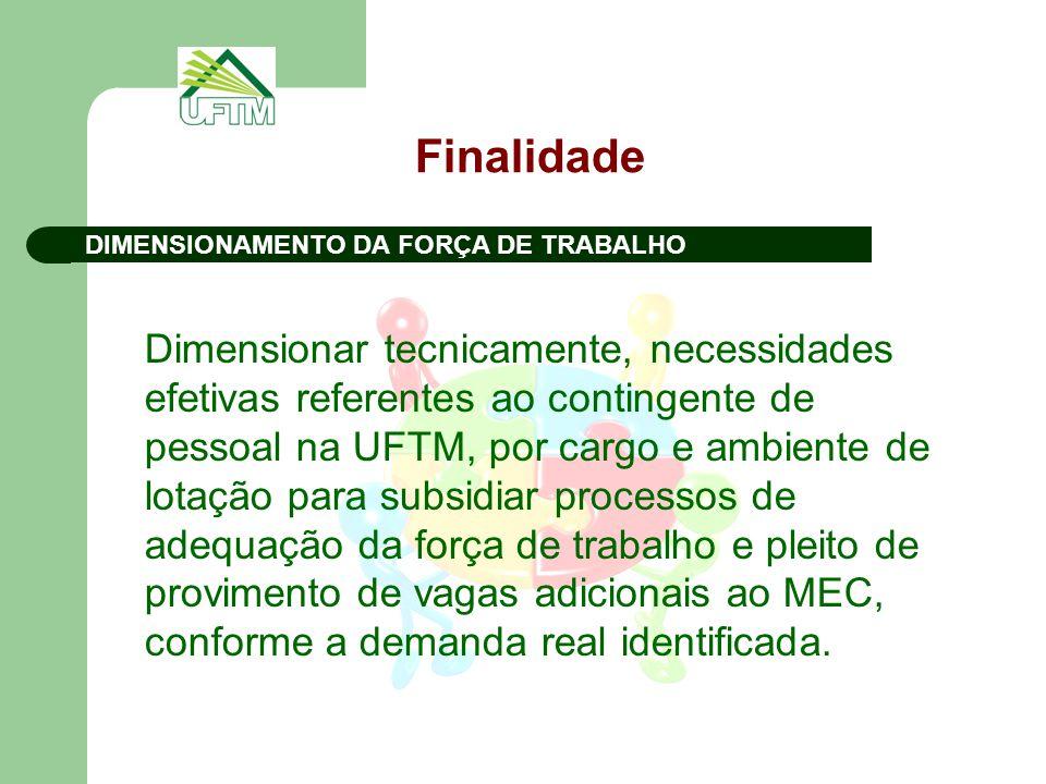 Finalidade DIMENSIONAMENTO DA FORÇA DE TRABALHO.