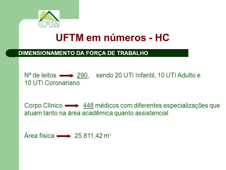 UFTM em números - HC DIMENSIONAMENTO DA FORÇA DE TRABALHO.