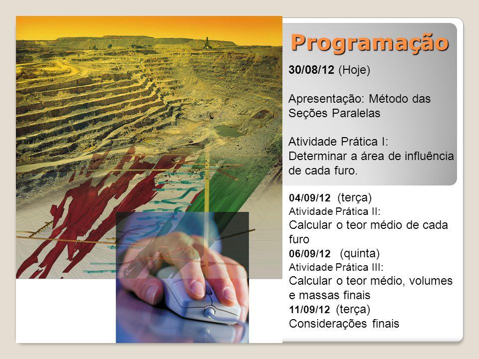 Programação 30/08/12 (Hoje) Apresentação: Método das Seções Paralelas