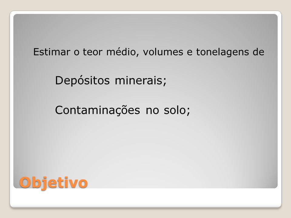 Objetivo Depósitos minerais; Contaminações no solo;