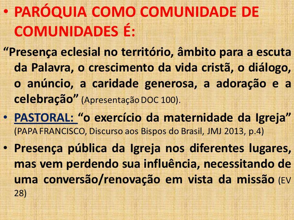 PARÓQUIA COMO COMUNIDADE DE COMUNIDADES É: