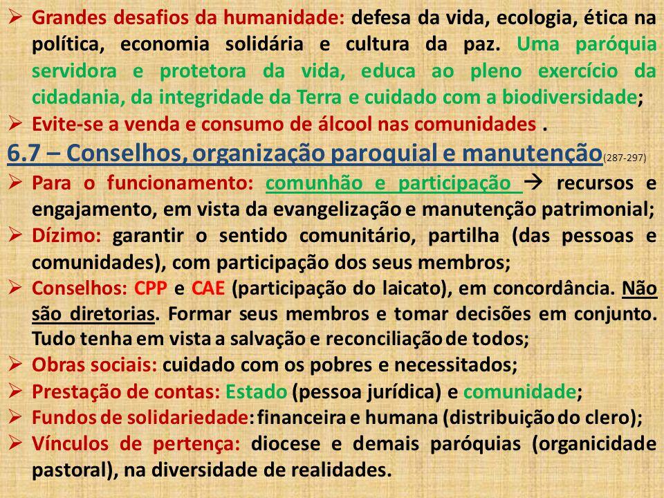 6.7 – Conselhos, organização paroquial e manutenção(287-297)