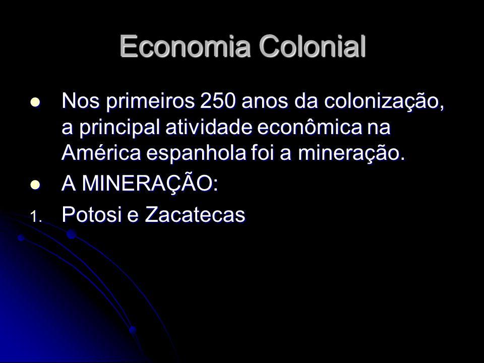 Economia Colonial Nos primeiros 250 anos da colonização, a principal atividade econômica na América espanhola foi a mineração.