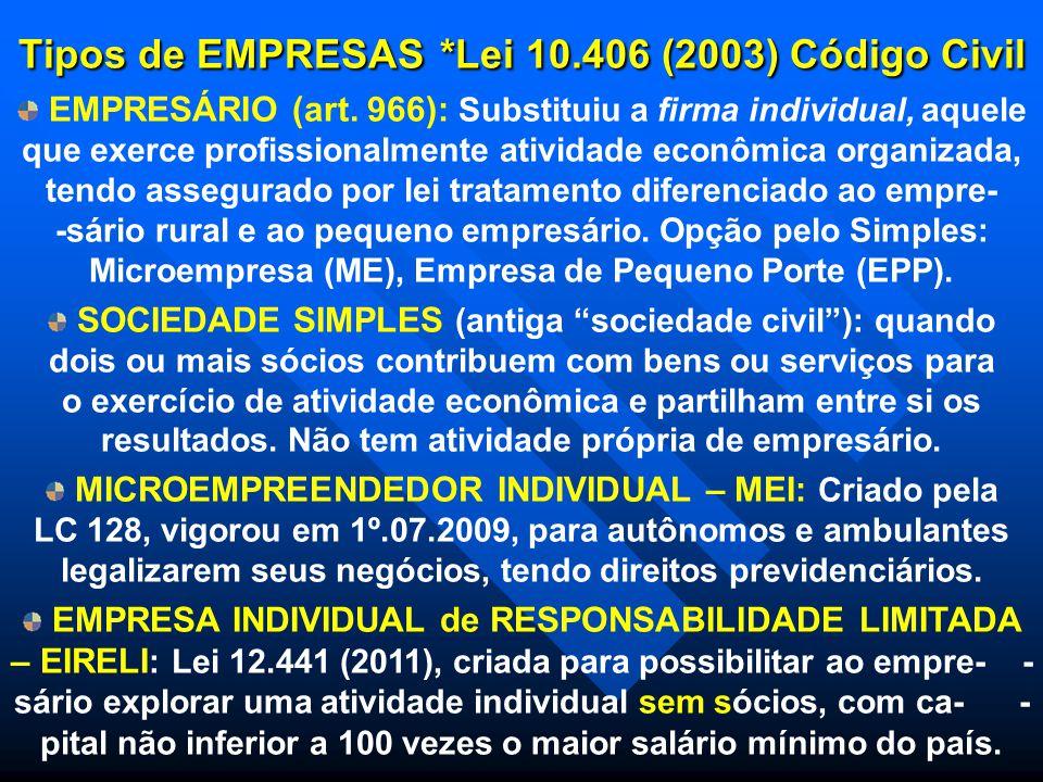 Tipos de EMPRESAS *Lei 10.406 (2003) Código Civil