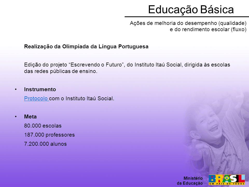 Educação Básica Ministério da Educação. Ações de melhoria do desempenho (qualidade) e do rendimento escolar (fluxo)