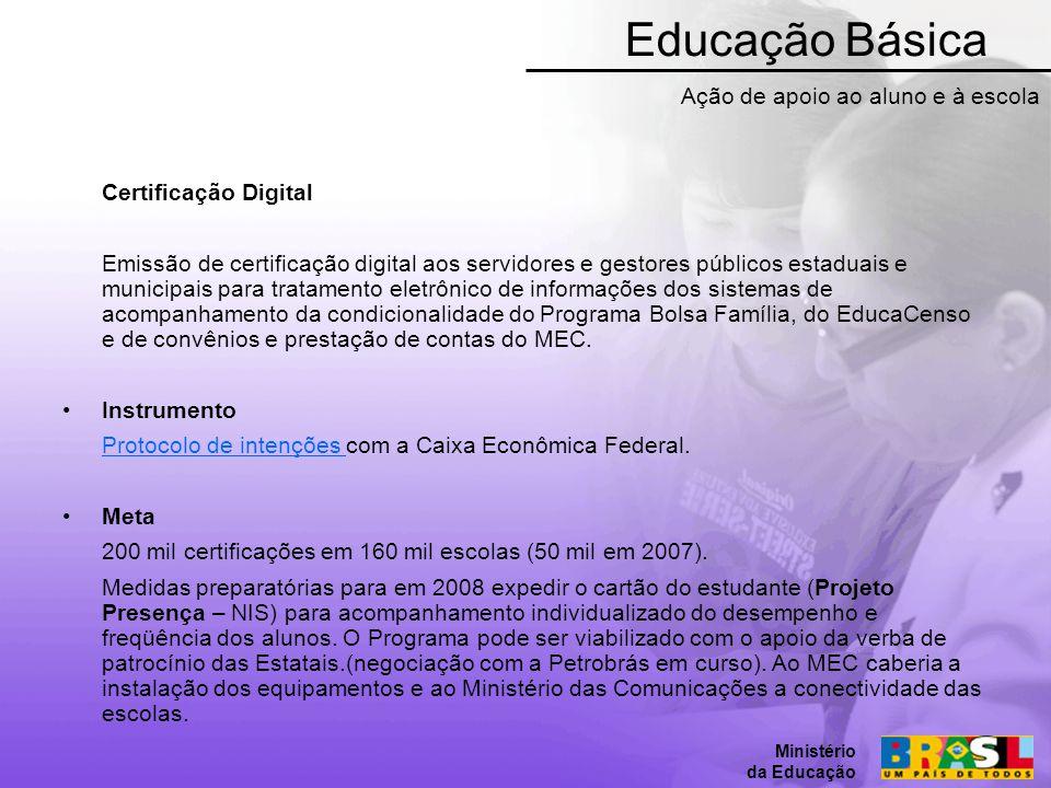 Educação Básica Ação de apoio ao aluno e à escola Certificação Digital
