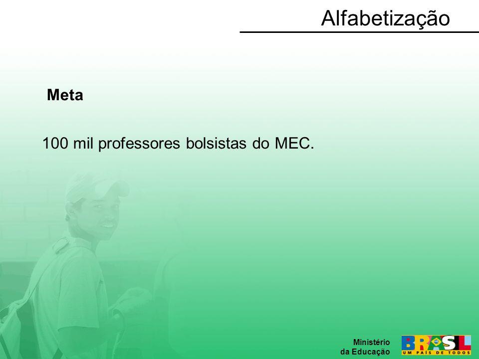 Alfabetização Meta 100 mil professores bolsistas do MEC.