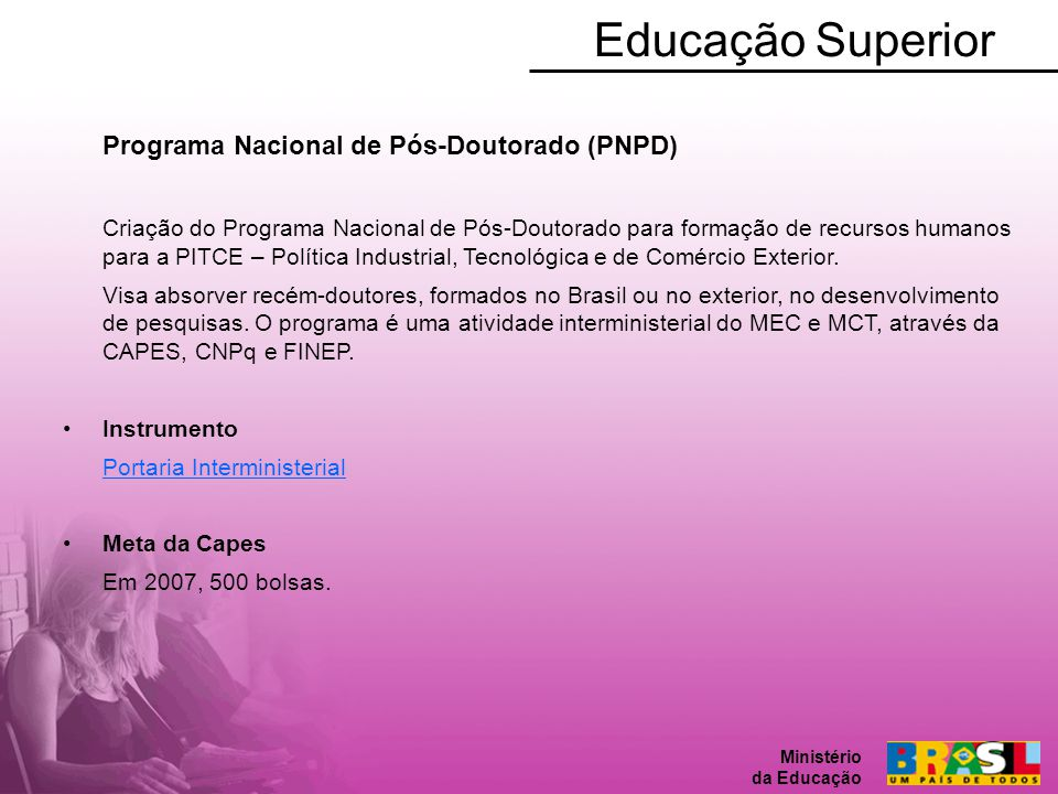 Educação Superior Programa Nacional de Pós-Doutorado (PNPD)