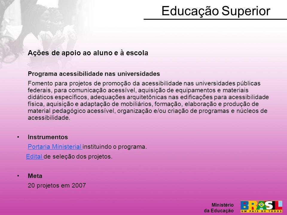 Educação Superior Ações de apoio ao aluno e à escola