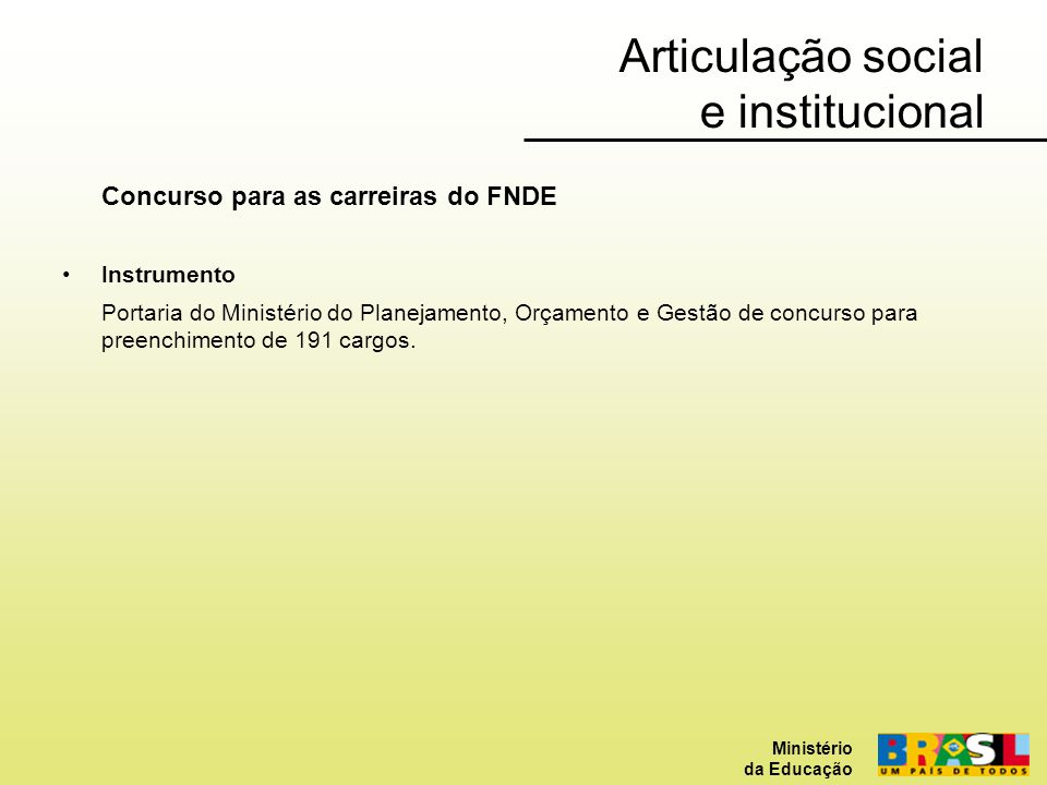 Articulação social e institucional