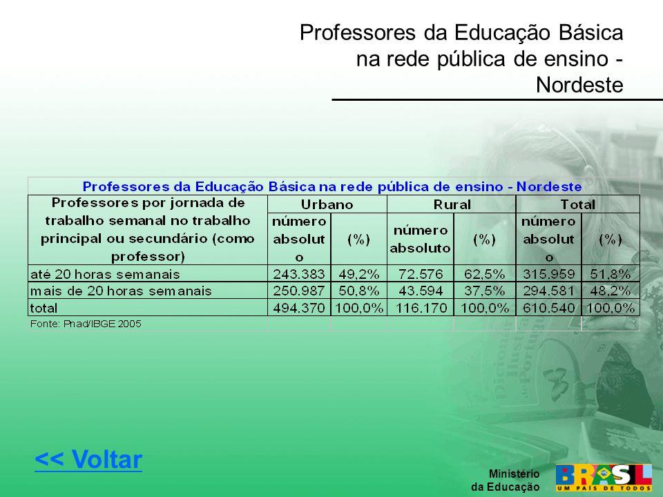 Professores da Educação Básica na rede pública de ensino - Nordeste