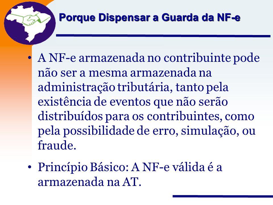 Princípio Básico: A NF-e válida é a armazenada na AT.