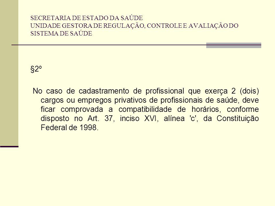 SECRETARIA DE ESTADO DA SAÚDE UNIDADE GESTORA DE REGULAÇÃO, CONTROLE E AVALIAÇÃO DO SISTEMA DE SAÚDE