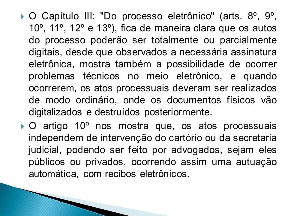 O Capítulo III: Do processo eletrônico (arts