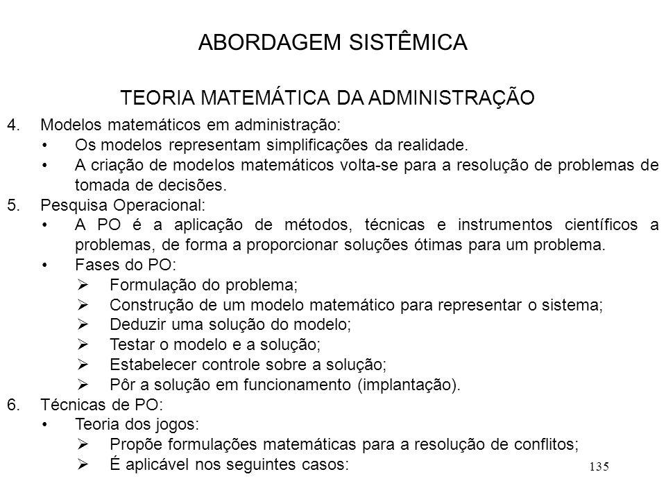 TEORIA MATEMÁTICA DA ADMINISTRAÇÃO