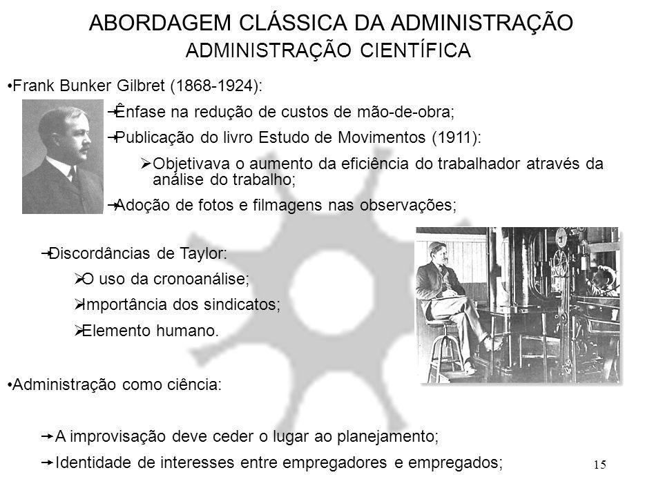 ABORDAGEM CLÁSSICA DA ADMINISTRAÇÃO