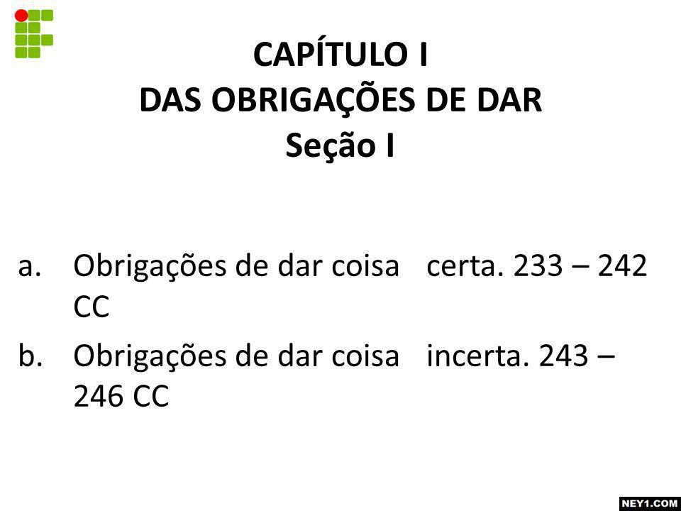 CAPÍTULO I DAS OBRIGAÇÕES DE DAR Seção I