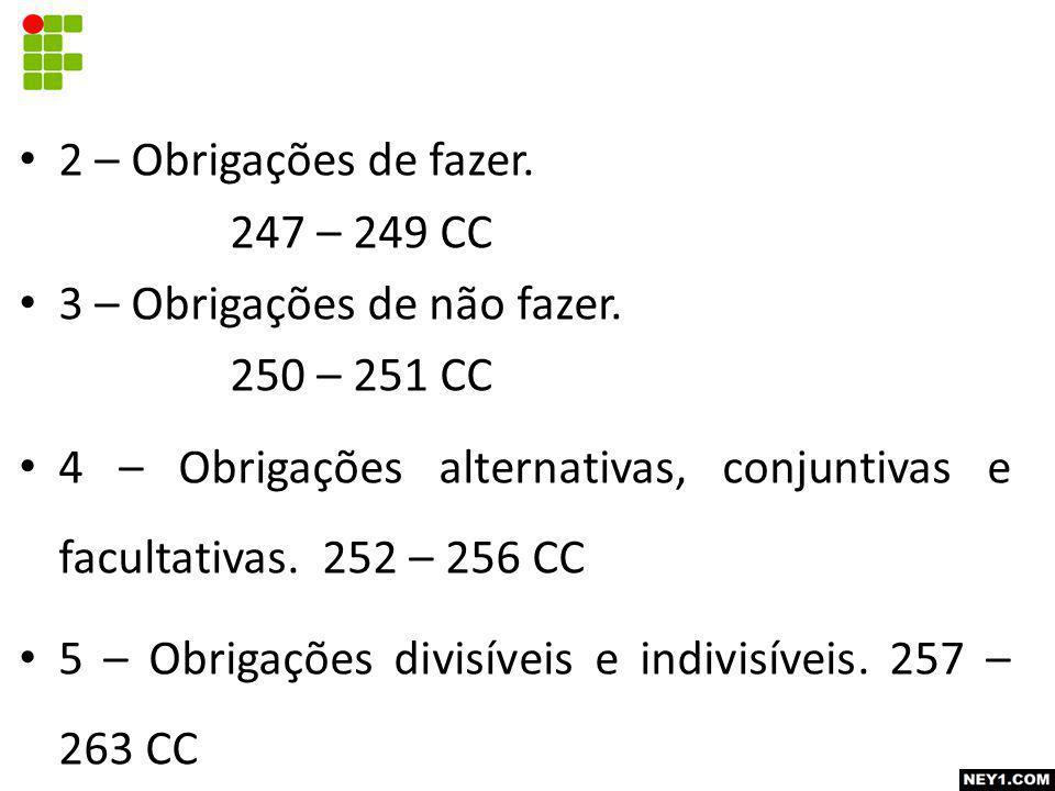 2 – Obrigações de fazer. 247 – 249 CC. 3 – Obrigações de não fazer. 250 – 251 CC.