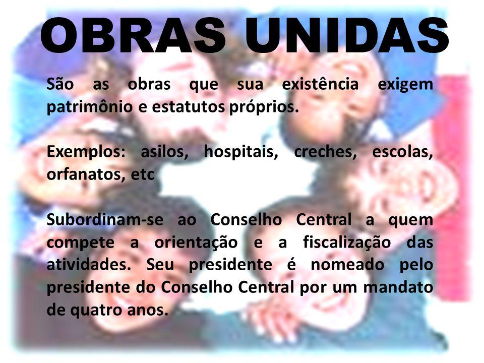 OBRAS UNIDAS São as obras que sua existência exigem patrimônio e estatutos próprios. Exemplos: asilos, hospitais, creches, escolas, orfanatos, etc.