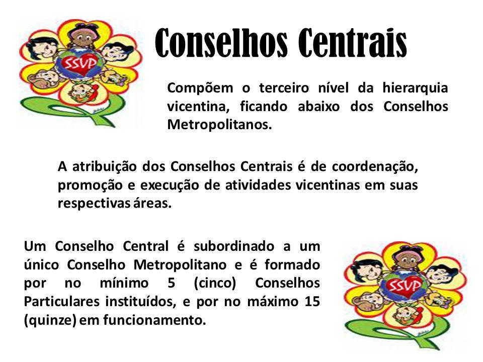Conselhos Centrais Compõem o terceiro nível da hierarquia vicentina, ficando abaixo dos Conselhos Metropolitanos.