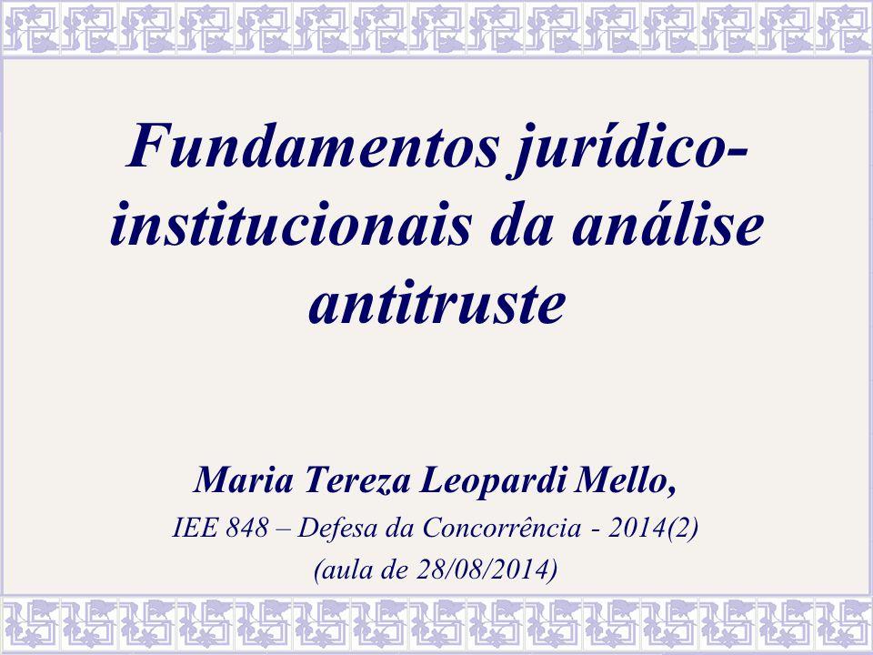 Fundamentos jurídico-institucionais da análise antitruste