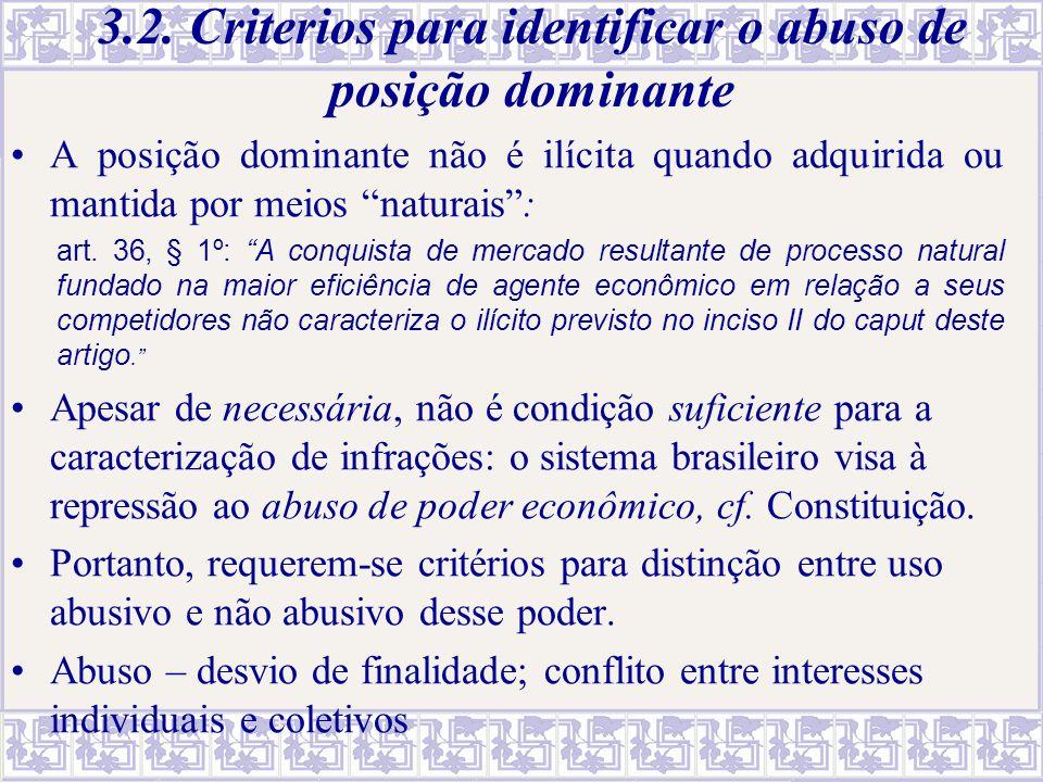 3.2. Criterios para identificar o abuso de posição dominante