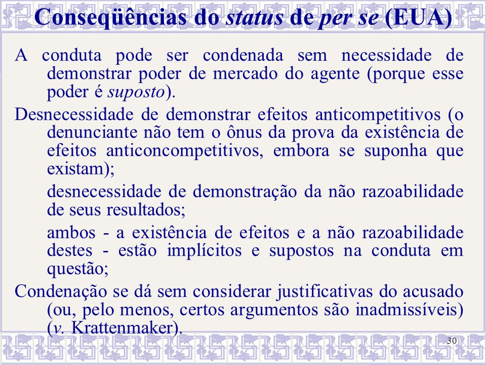Conseqüências do status de per se (EUA)