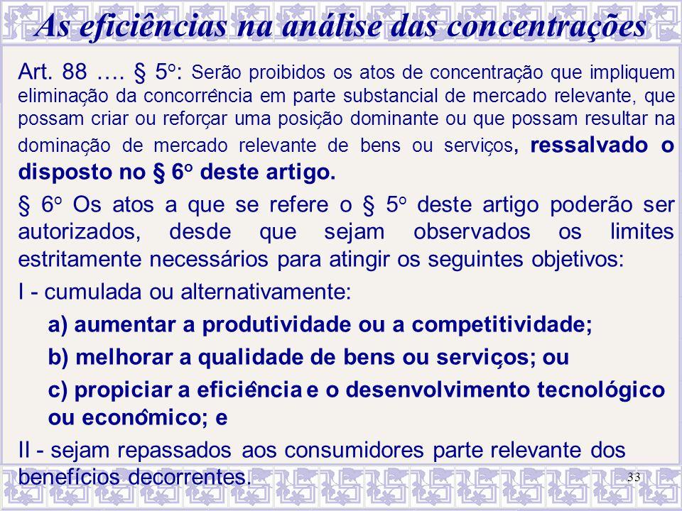 As eficiências na análise das concentrações