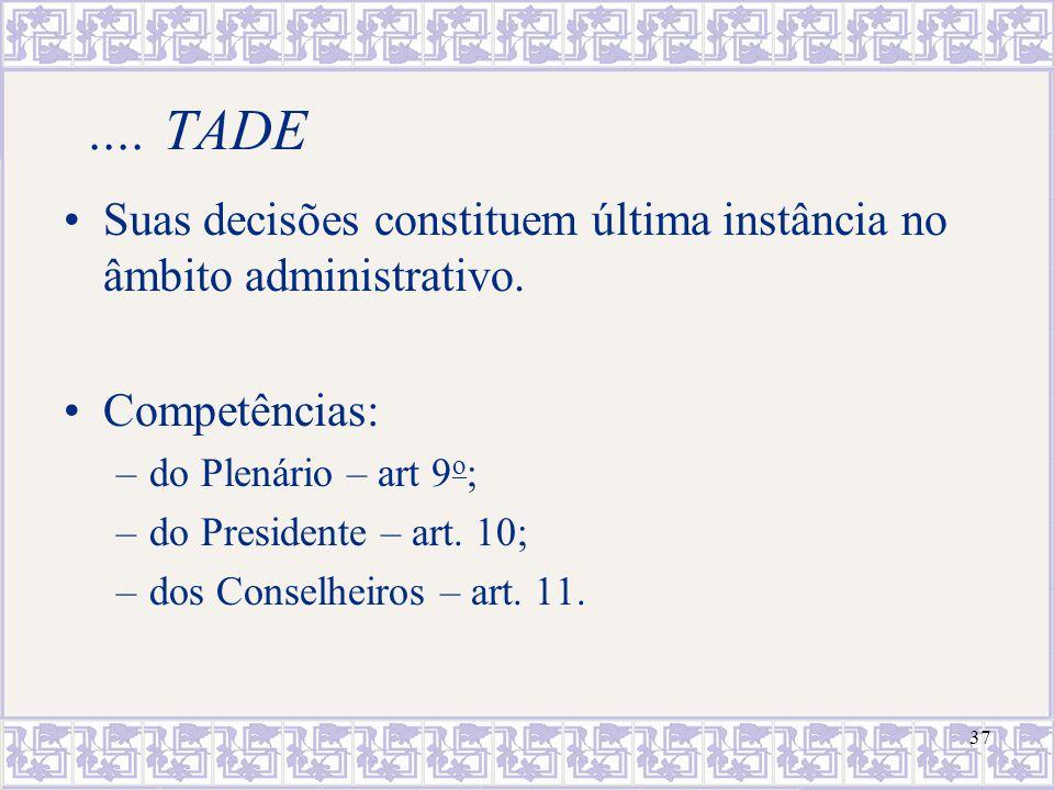 .... TADE Suas decisões constituem última instância no âmbito administrativo. Competências: do Plenário – art 9o;