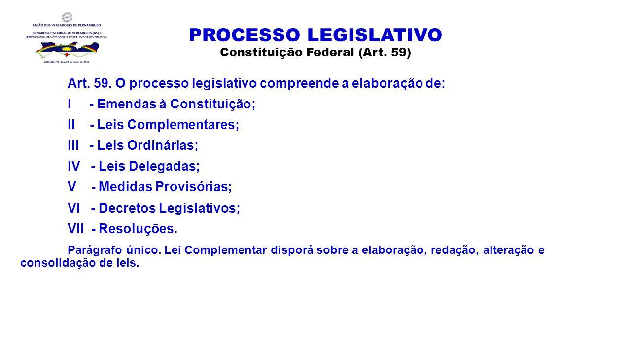 PROCESSO LEGISLATIVO Constituição Federal (Art. 59)