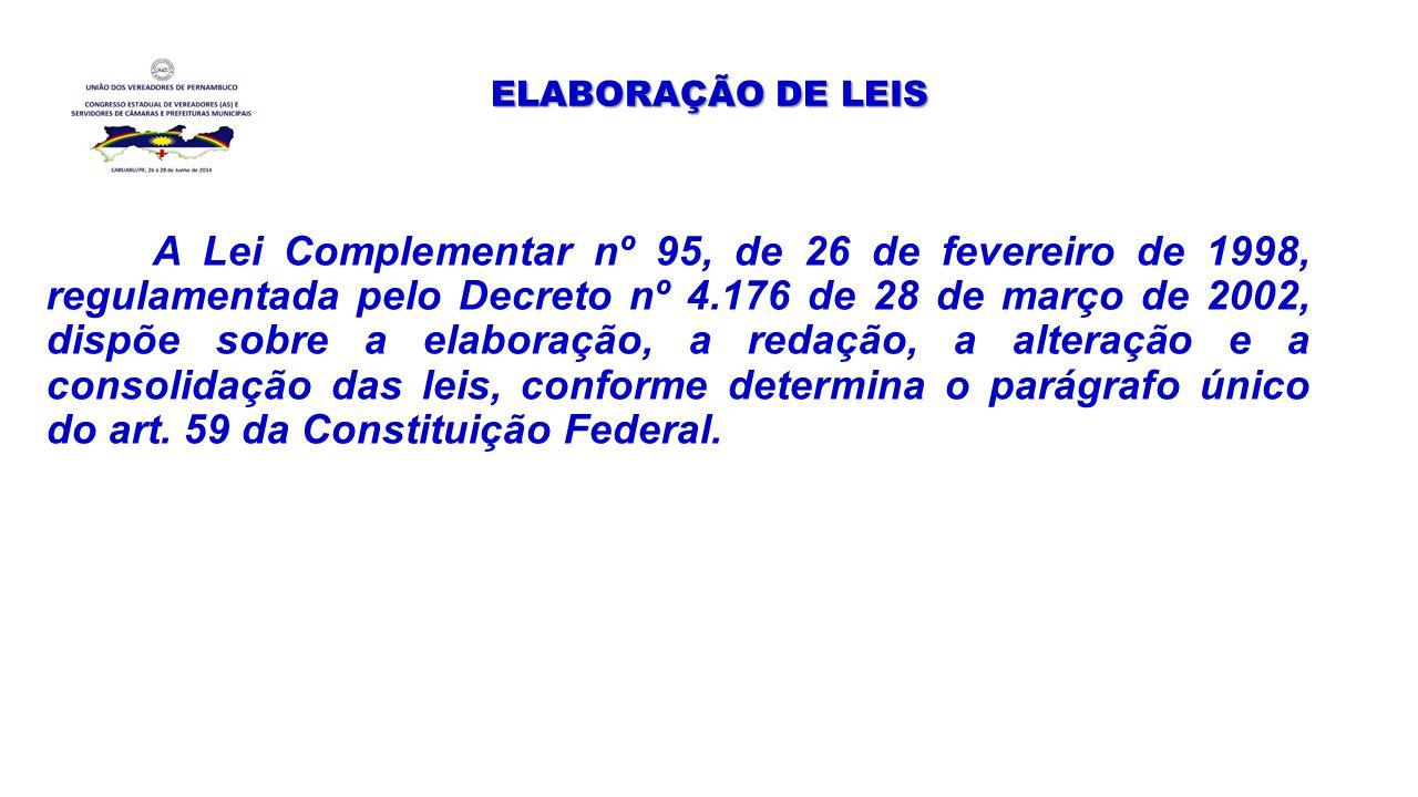 ELABORAÇÃO DE LEIS