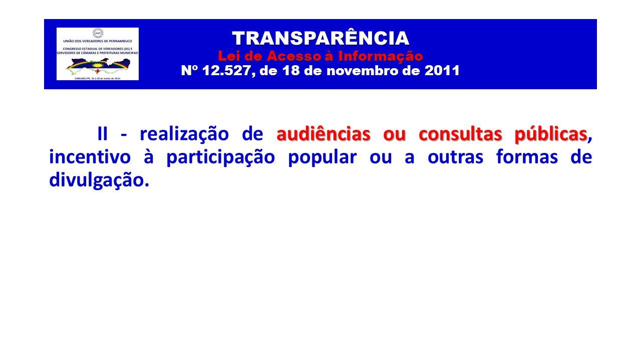 TRANSPARÊNCIA Lei de Acesso à Informação Nº 12