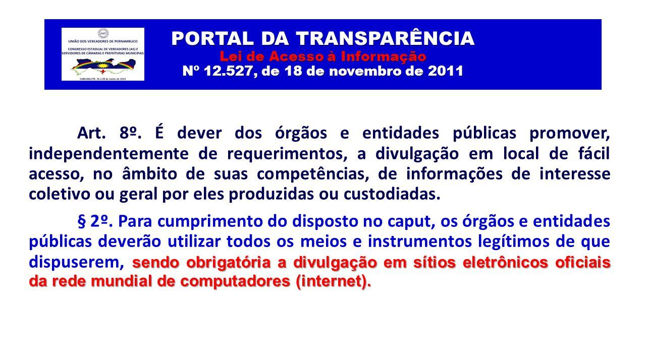 PORTAL DA TRANSPARÊNCIA Lei de Acesso à Informação Nº 12