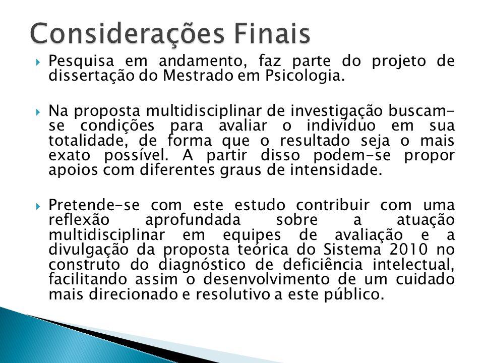 Considerações Finais Pesquisa em andamento, faz parte do projeto de dissertação do Mestrado em Psicologia.
