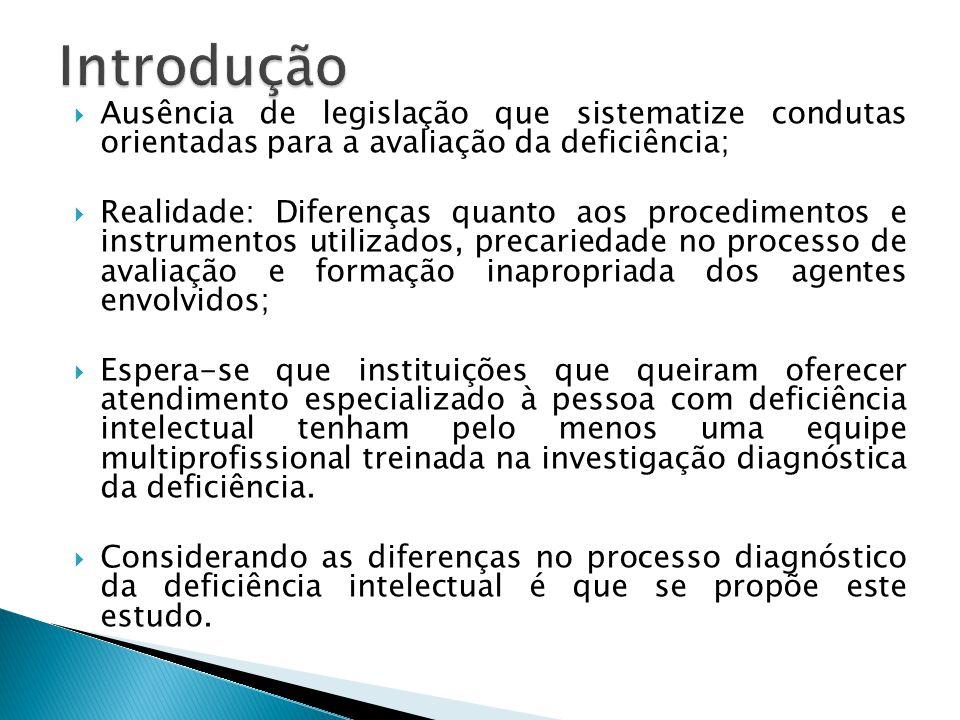 Introdução Ausência de legislação que sistematize condutas orientadas para a avaliação da deficiência;