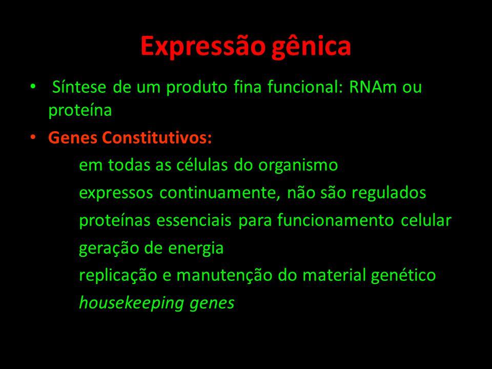 Expressão gênica Síntese de um produto fina funcional: RNAm ou proteína. Genes Constitutivos: em todas as células do organismo.