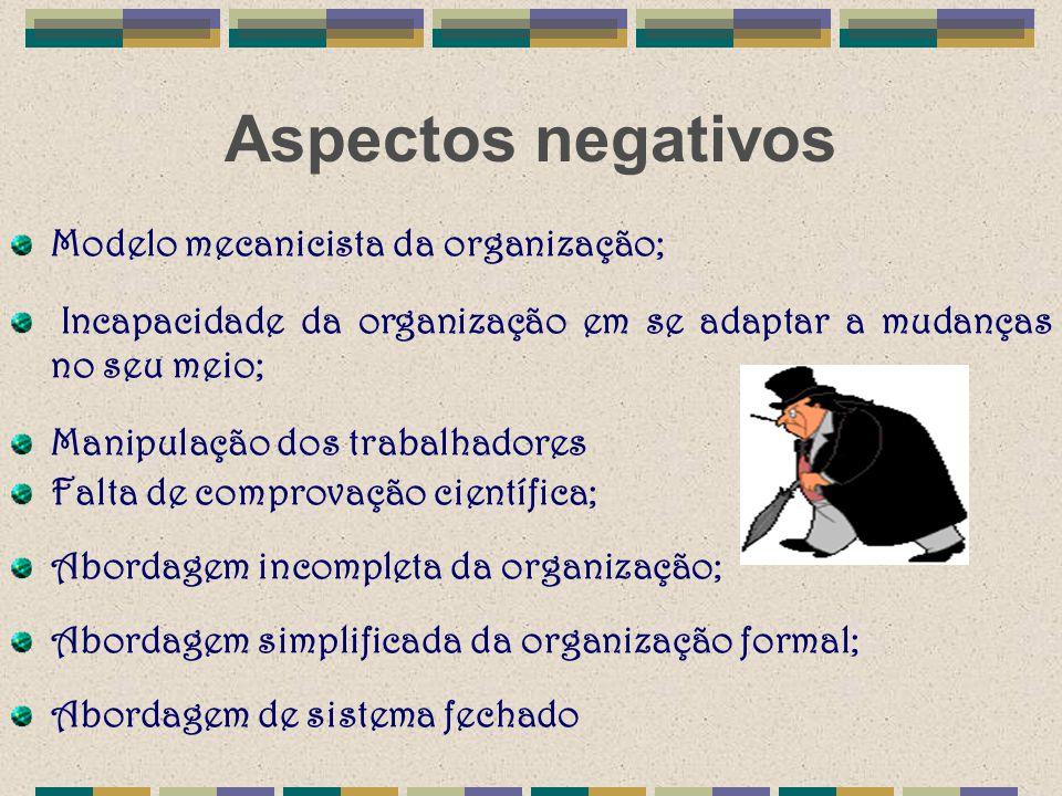 Aspectos negativos Modelo mecanicista da organização;
