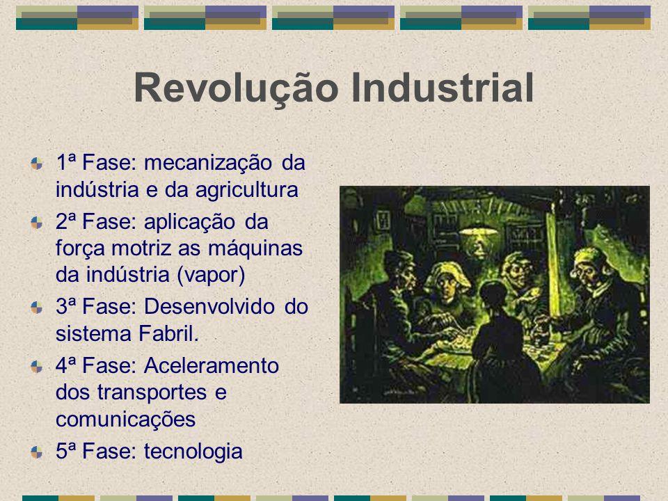 Revolução Industrial 1ª Fase: mecanização da indústria e da agricultura. 2ª Fase: aplicação da força motriz as máquinas da indústria (vapor)