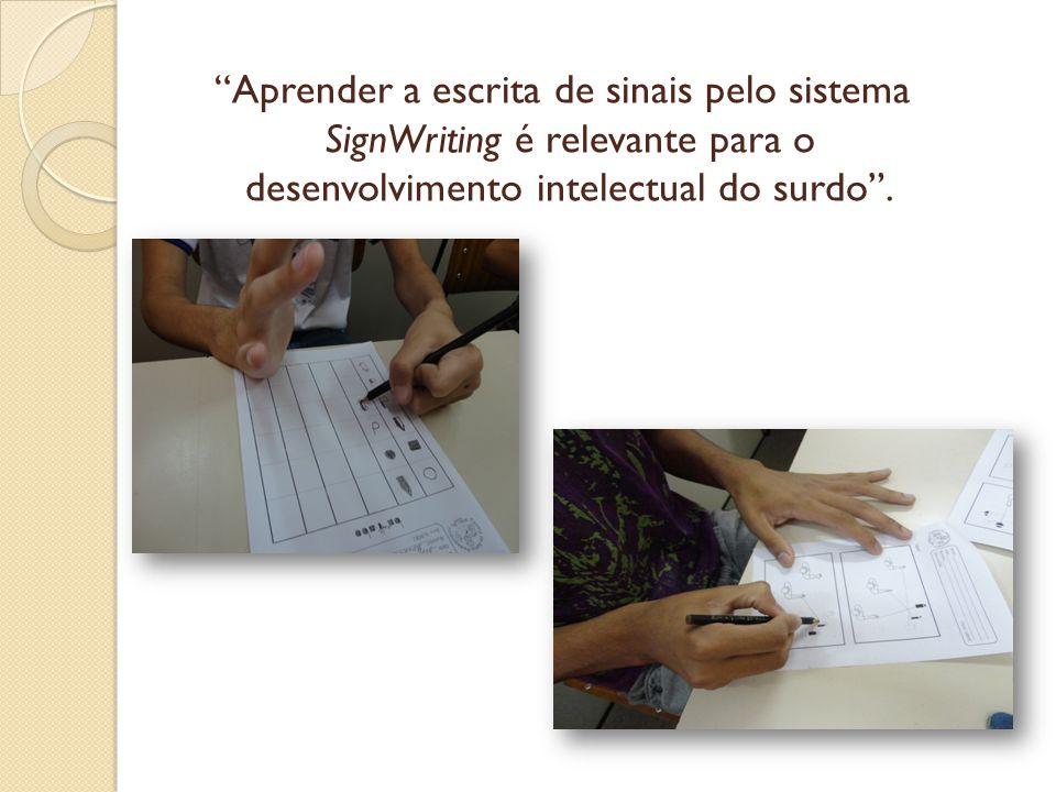 Aprender a escrita de sinais pelo sistema SignWriting é relevante para o desenvolvimento intelectual do surdo .