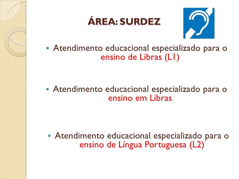 ÁREA: SURDEZ Atendimento educacional especializado para o ensino de Libras (L1) Atendimento educacional especializado para o ensino em Libras.