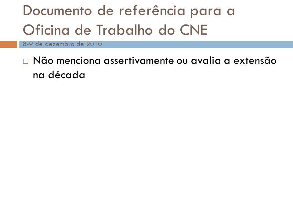 Documento de referência para a Oficina de Trabalho do CNE 8-9 de dezembro de 2010